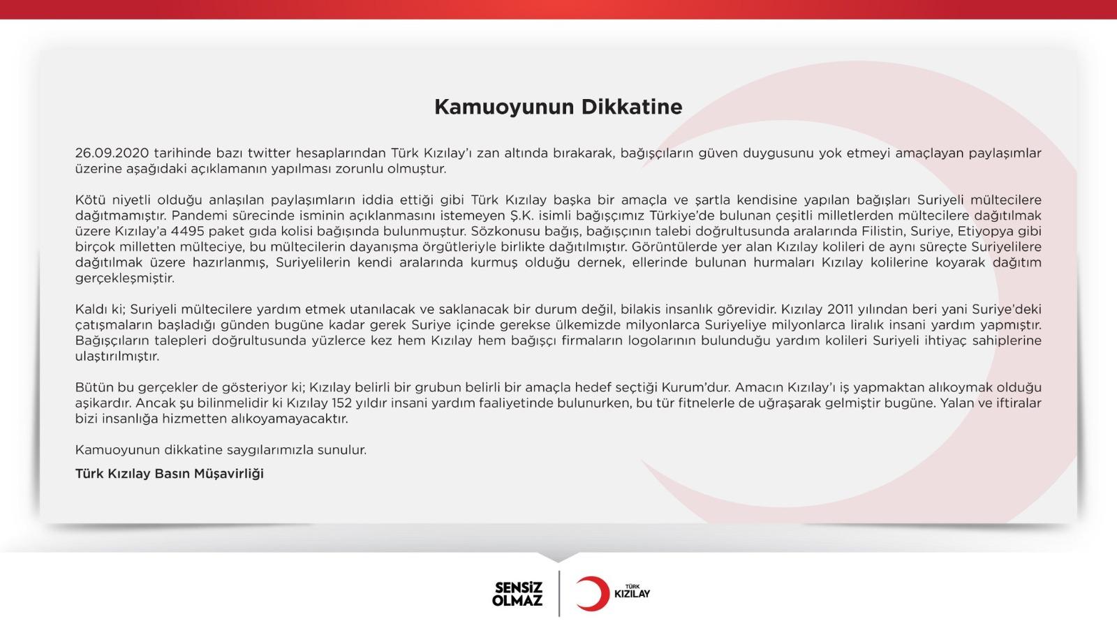 الهلال الأحمر التركي يرد على اتهامات بتخصيص السوريين بالمساعدات دون غيرهم